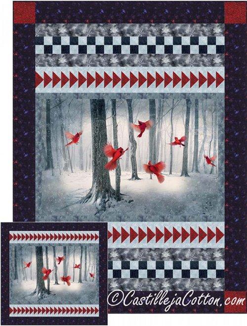 Winter Cardinals Quilt Pattern by Castilleja Cotton