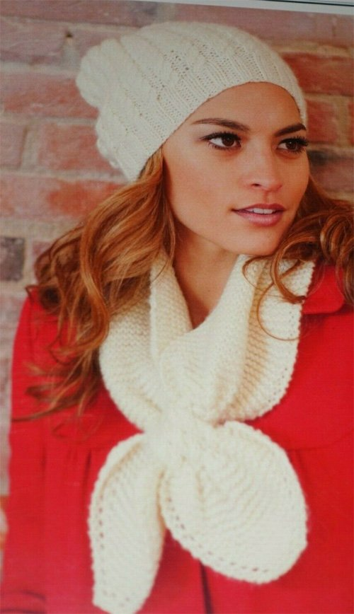 Woman's Cable Hat and Keyhole Scarf Pattern by Plymouth Yarn