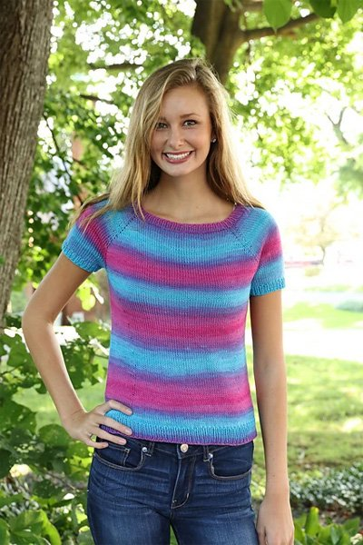 Woman's Top Down Tee Pattern 3217 by Plymouth Yarn