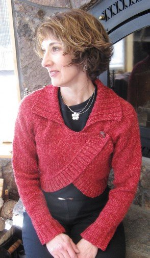 Women's Neckdown Collared Bolero Pattern 284 by Knitting Pure and Simple