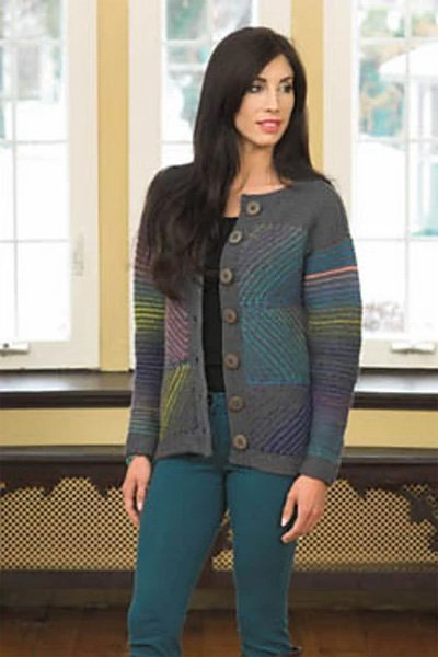 Ladies Paint Stroke Jacket Pattern by Plymouth Yarns