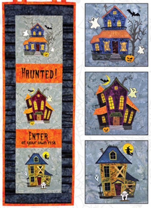 Wonky Houses Haunted Halloween Banner Pattern and Disk by Bruce Allen Designs