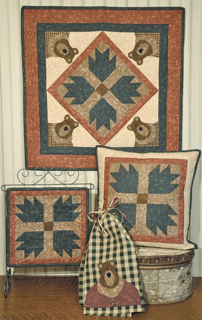 Woodland Bear Quilt Wallhanging and Pillow Pattern by The Wooden Bear