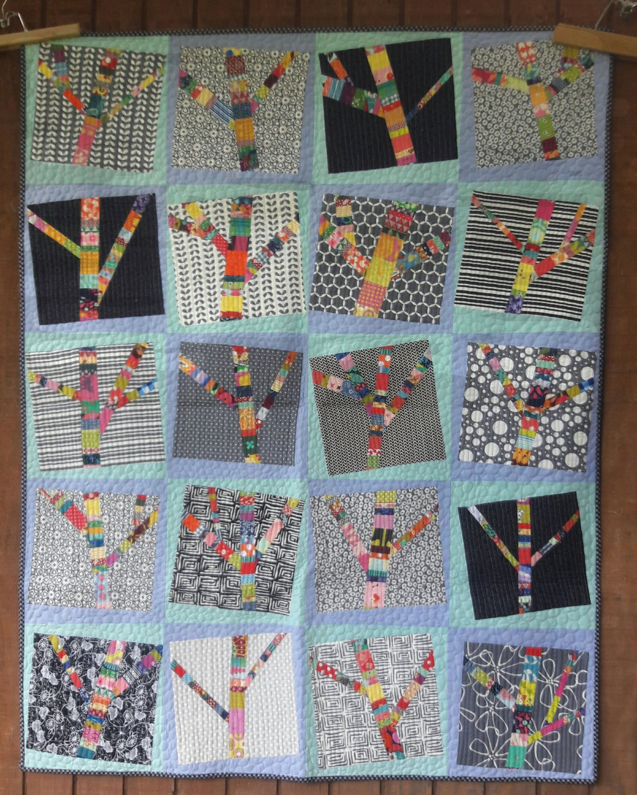 Yarn Bomb Trees Quilt Pattern by Aunt Em's Quilts