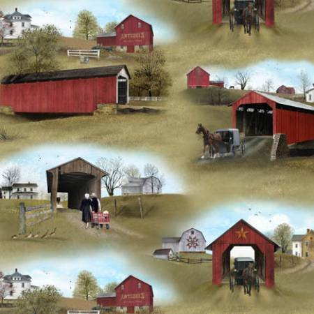Amish House, Barn, and Bridge Fabric