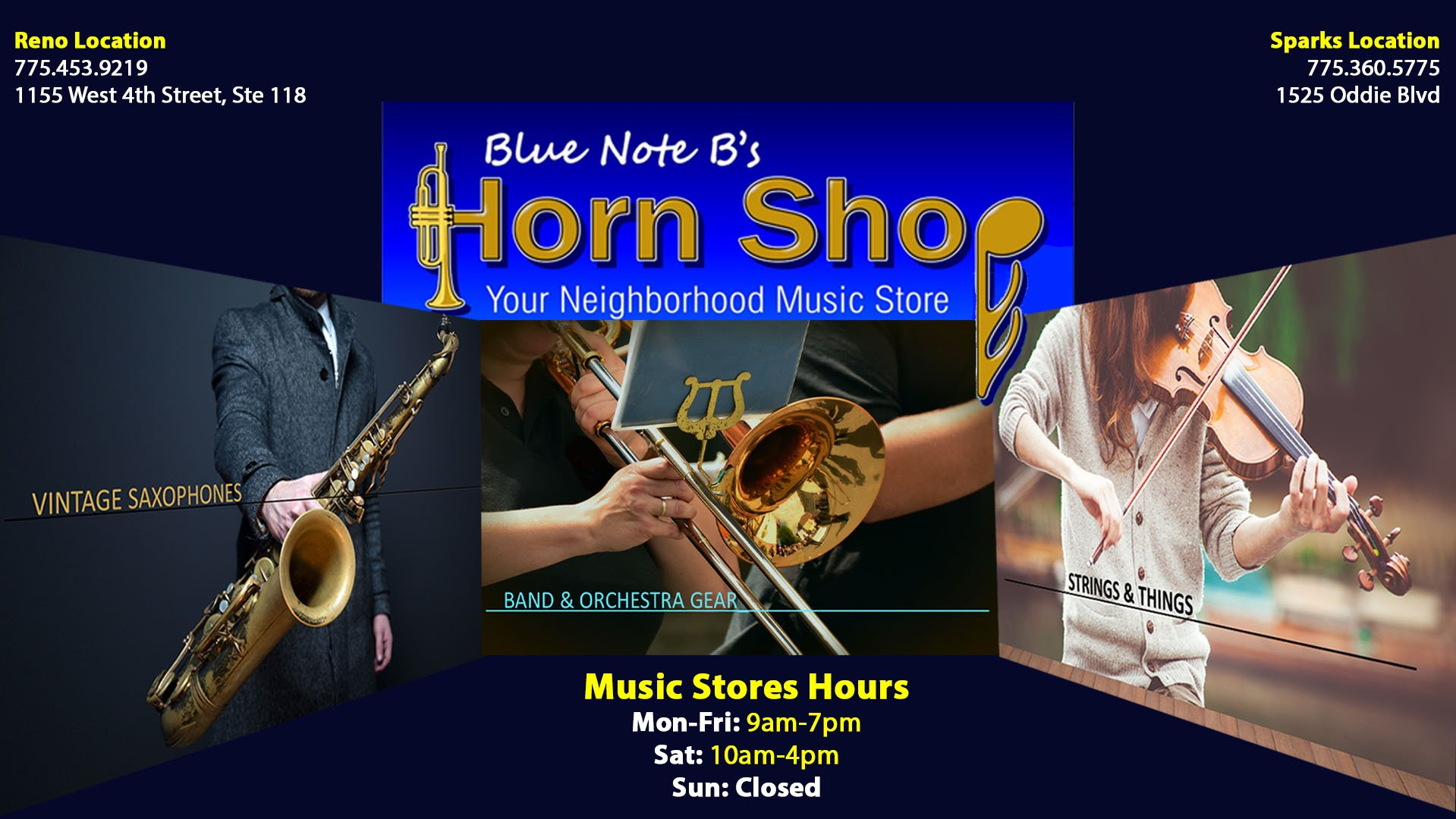 best sneakers 1d6c0 6d575 Music Store | Blue Note B's Horn Shop | Servicing Reno and ...