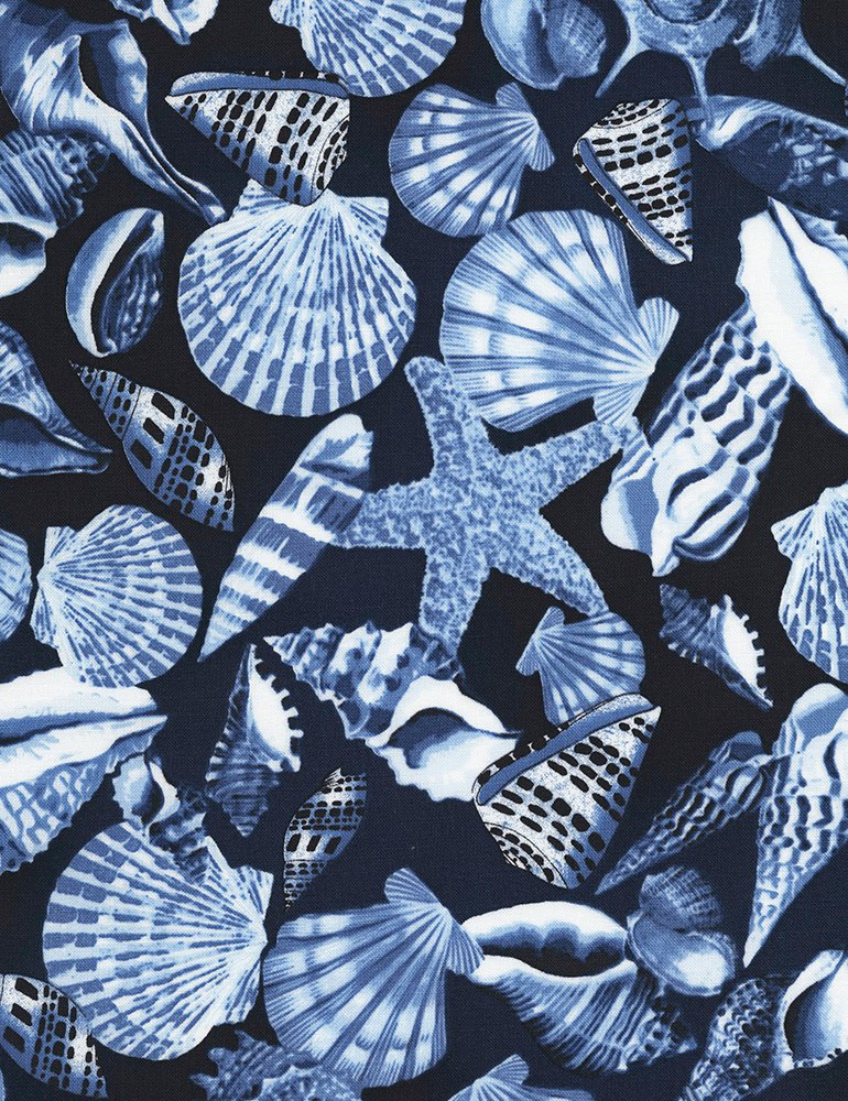 Seashells allover-Navy