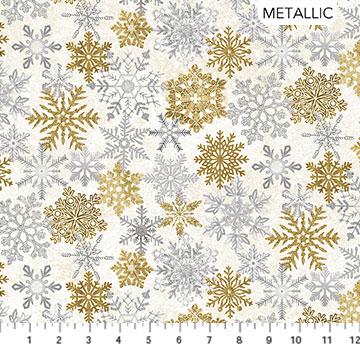 STONEHENGE SNOWFLAKES WHITE CHRISTMAS NEUTRAL GOLD Metallic
