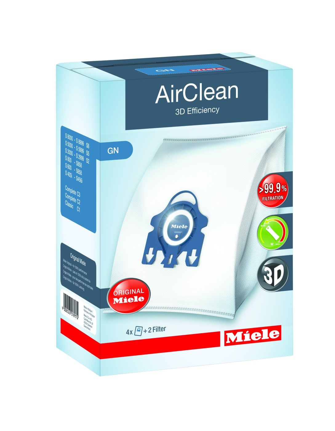 Miele GN AirClean 3D EffIciency FilterBags - 4 Pack
