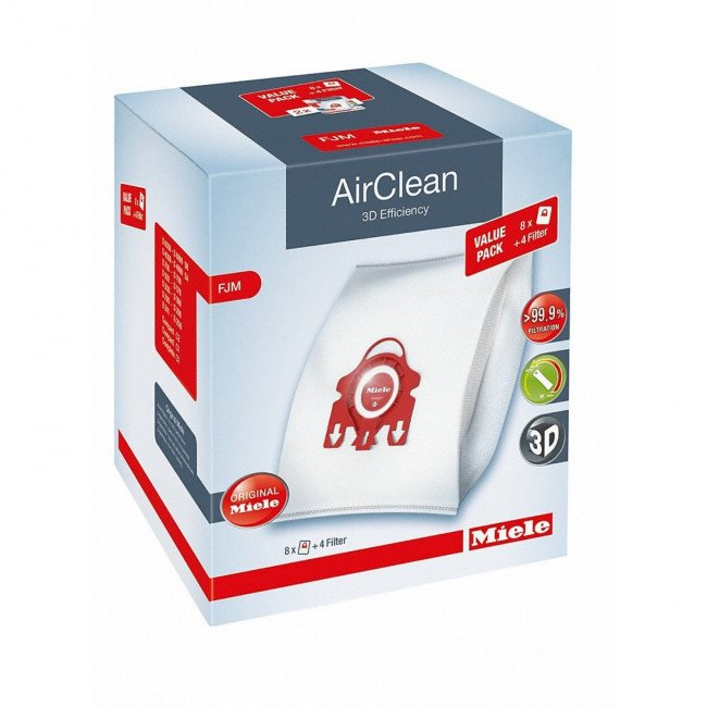 Miele FJM XL Airclean 3D FilterBags - 8 Pack