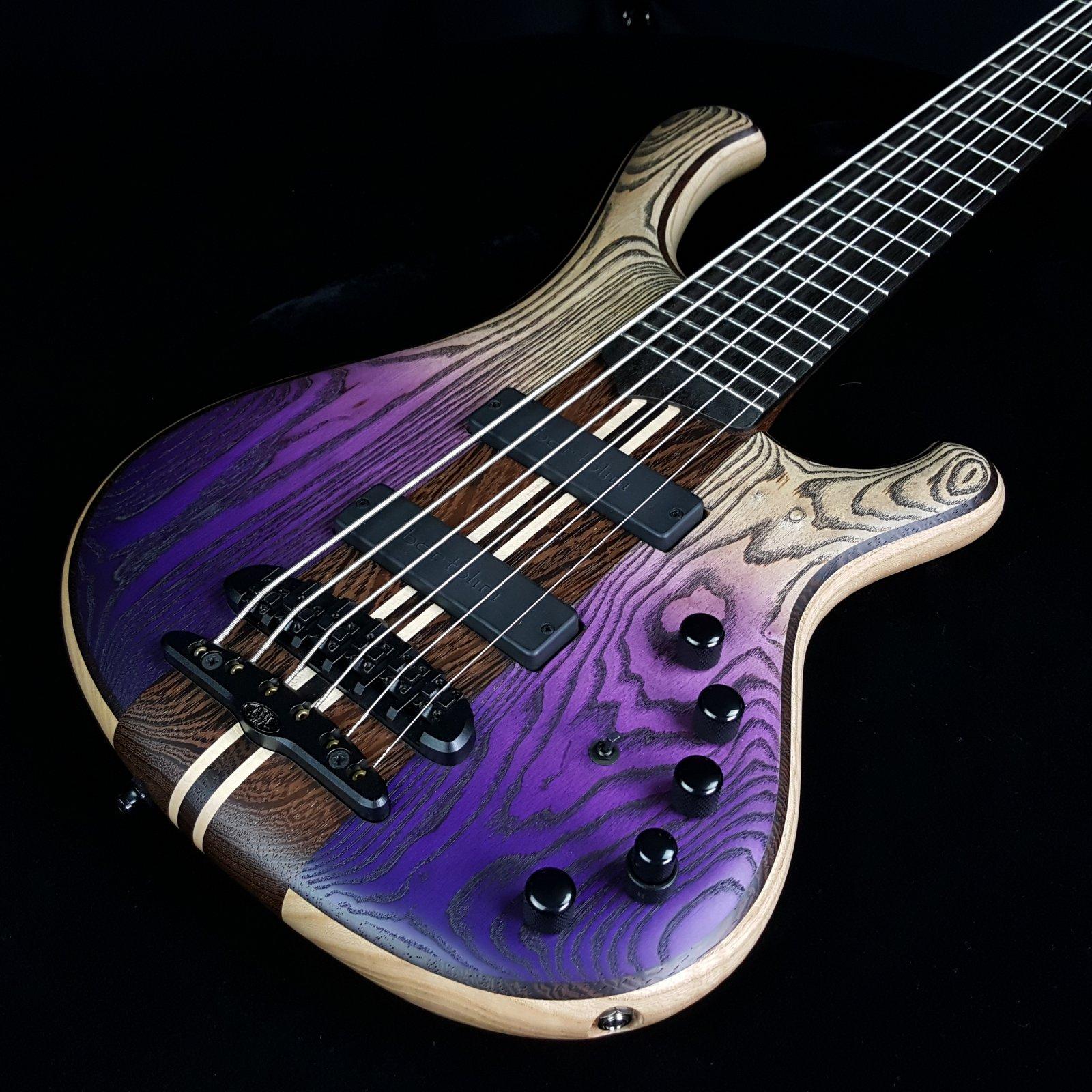 Mayones Viking 6 String Bass Jeans Black Purple Horizon w/ Hard Case