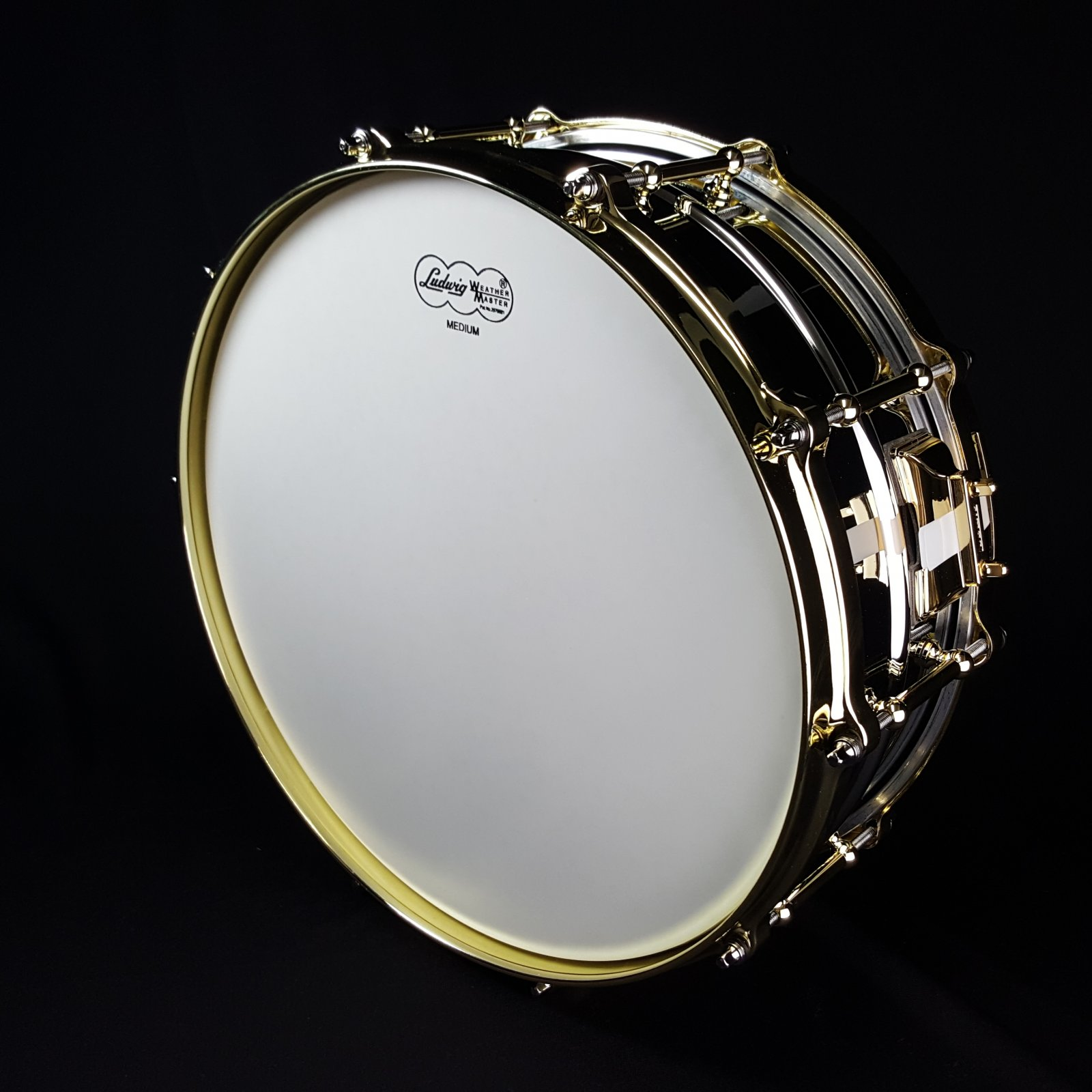 Ludwig LB400BBTWM Chrome Plated Brass 5 x 14 Snare with Polished Brass Hardware LB400BBTWM