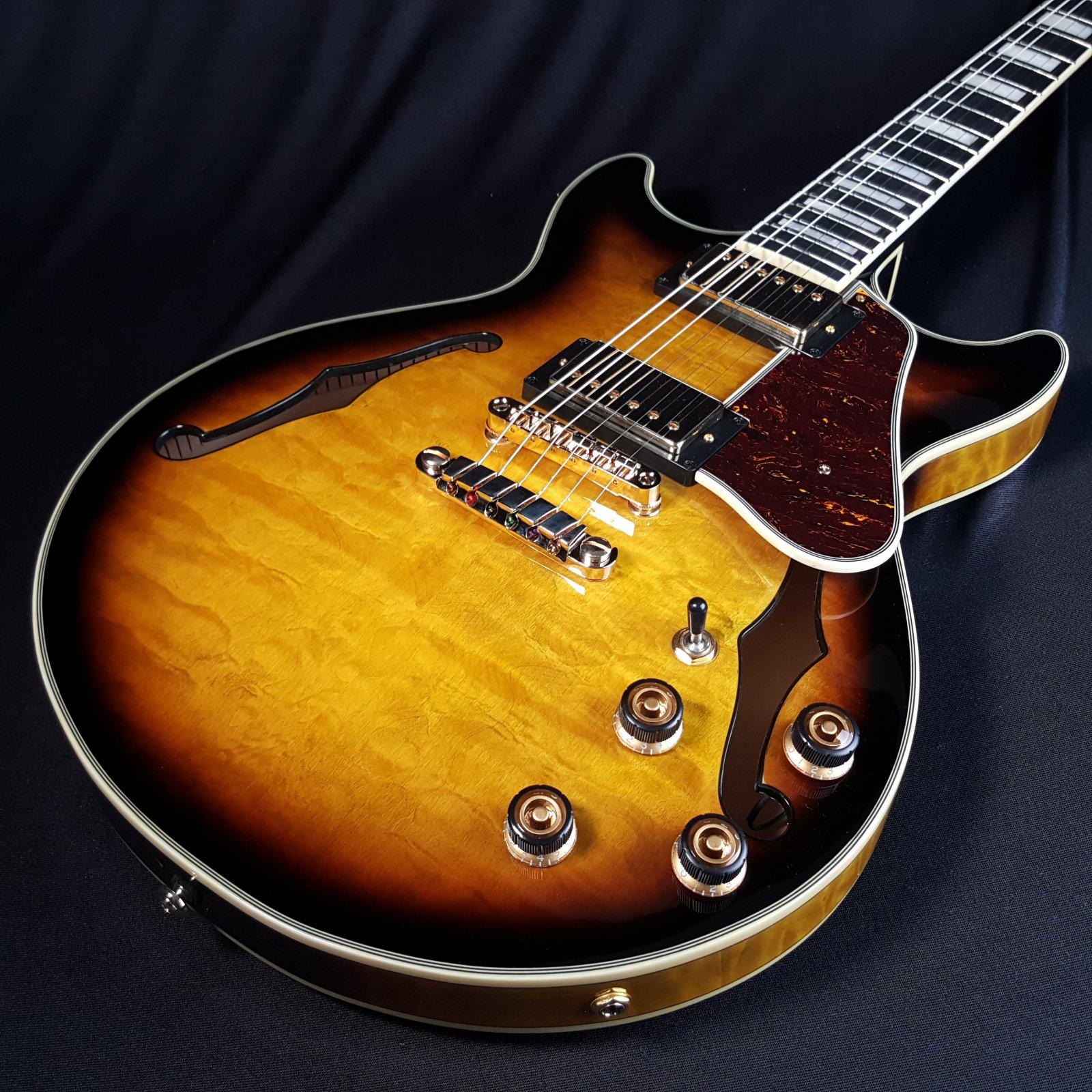 Ibanez Artcore Expressionist AM93QM  Antique Yellow Sunburst Semi-Hollow Electric Guitar