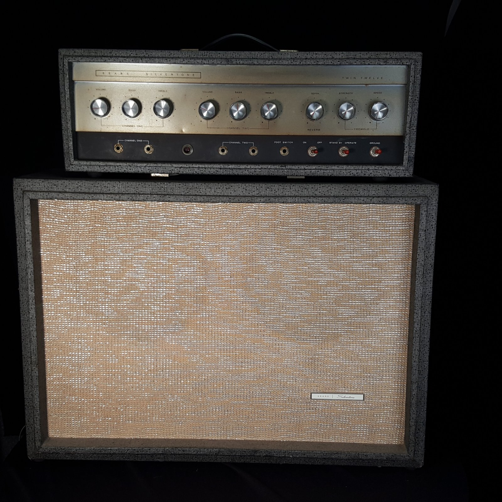 Used Sears Silvertone Twin Twelve Model 57 1484 L Head and Cabinet Guitar Amplifier Stack