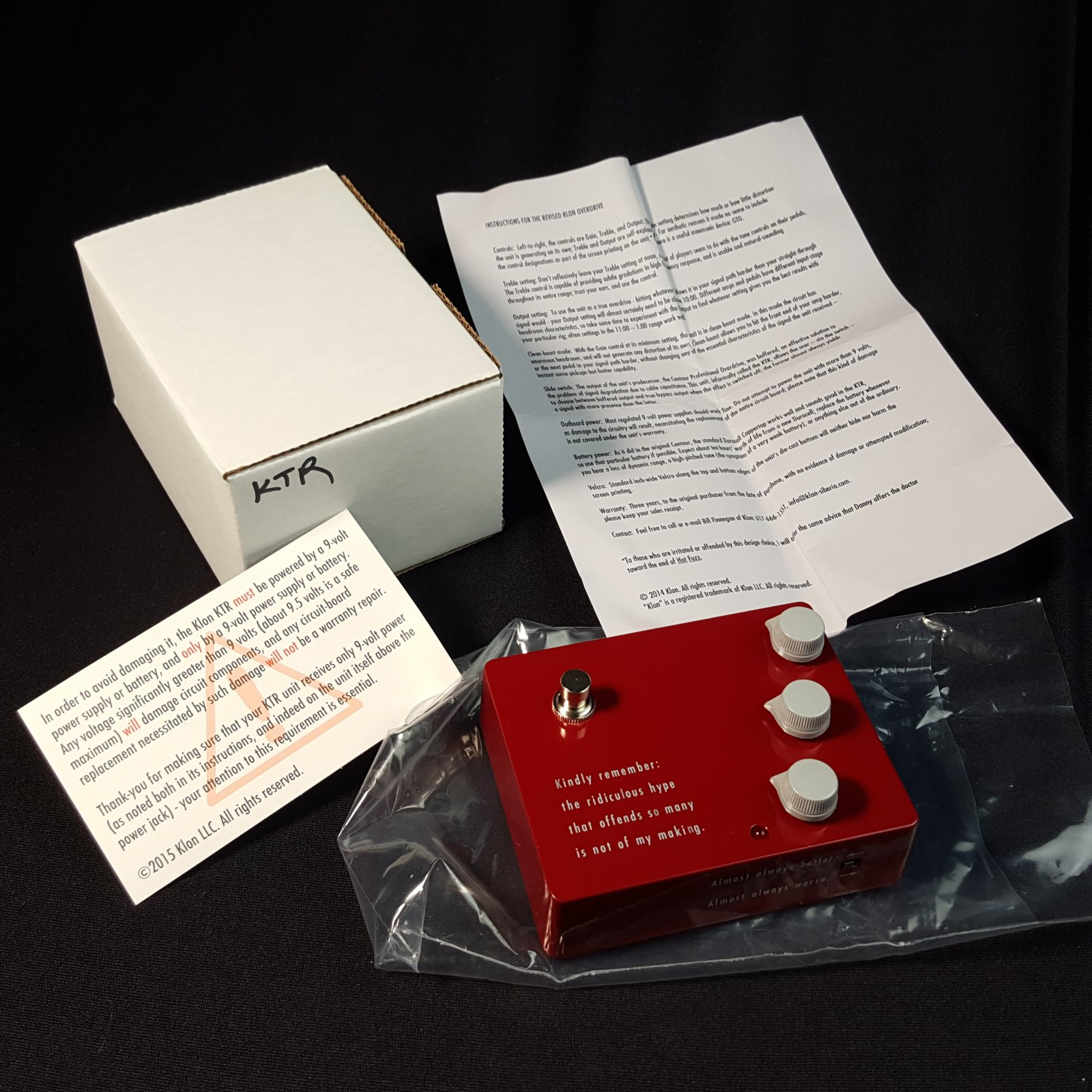USED Klon KTR Overdrive Guitar Effects Pedal