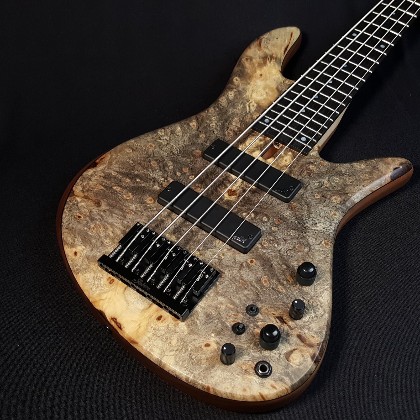 Used Fodera Emperor 5 Standard Special Buckeye Burl 5 String Bass With Case