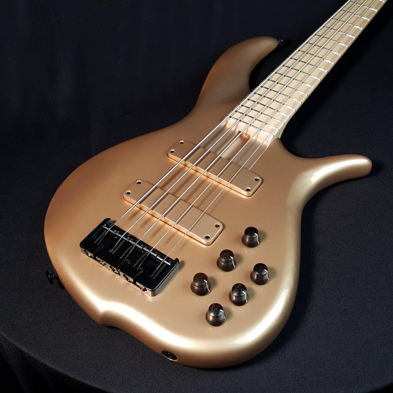 F Bass BN5 Gold Gloss 5 String Bass w/ Gig Bag
