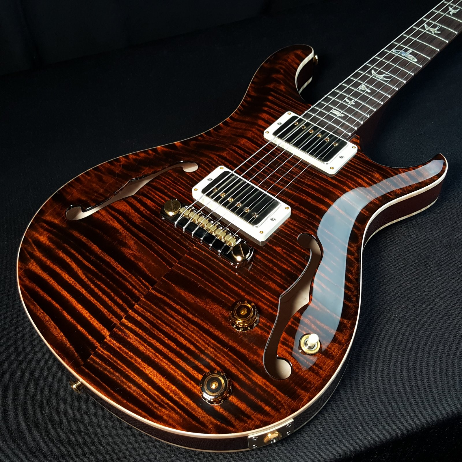 PRS Paul Reed Smith HBII Hollow Body II 10 Top Orange Tiger with Case