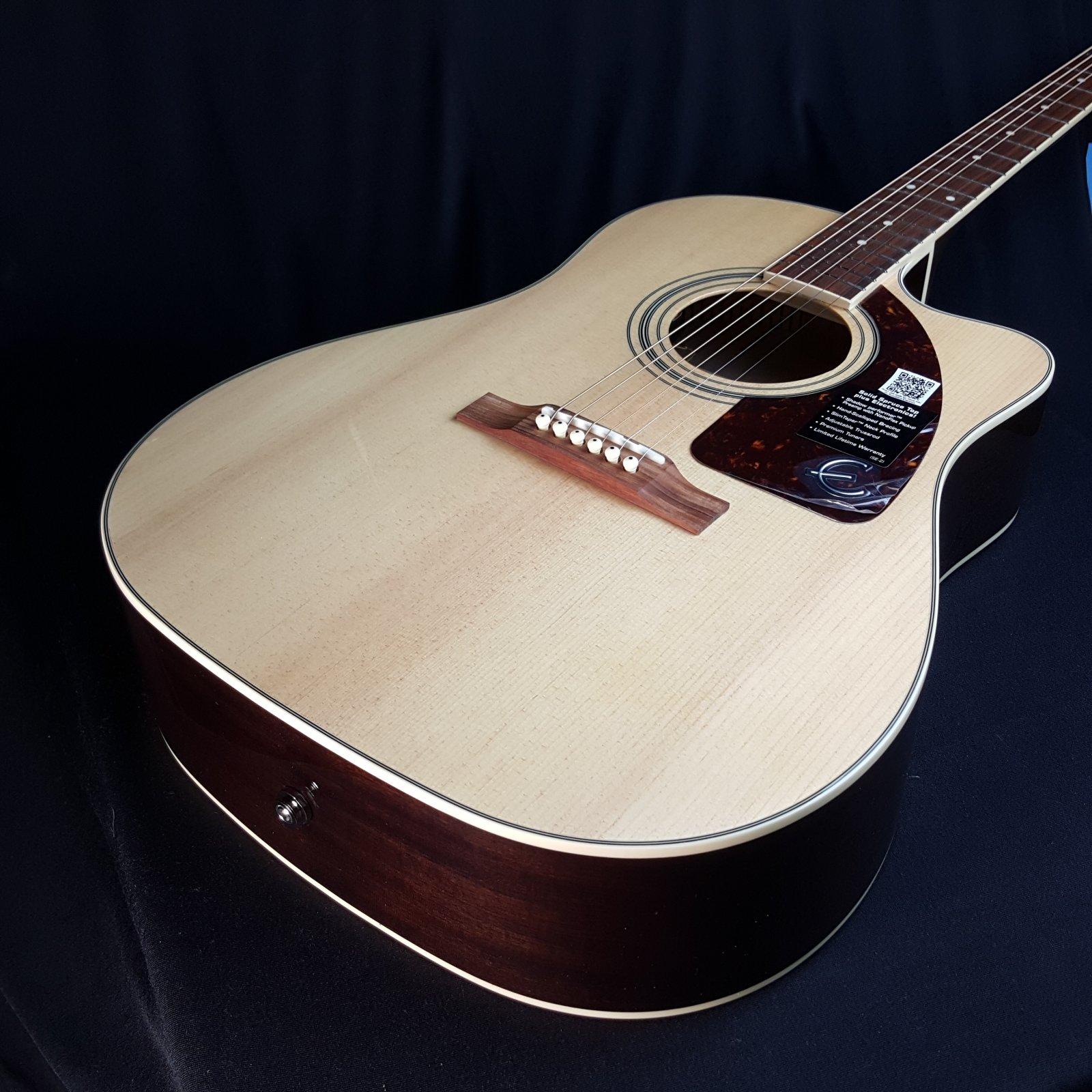 Epiphone AJ-220SCE-N Natural Advanced Jumbo Cutaway Acoustic Electric Guitar