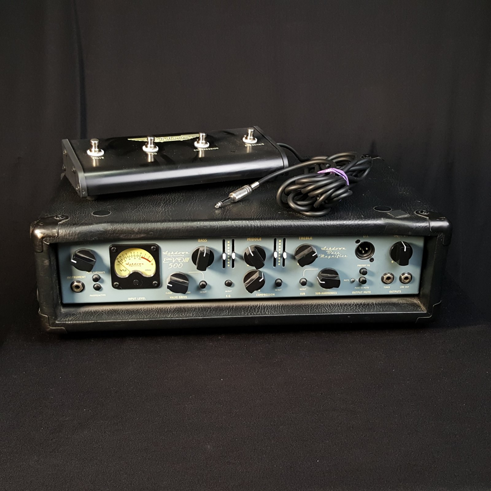 Used Ashdown Engineering ABM 500 EVO III Bass Amplifier Head w/ Cover and Footswitch