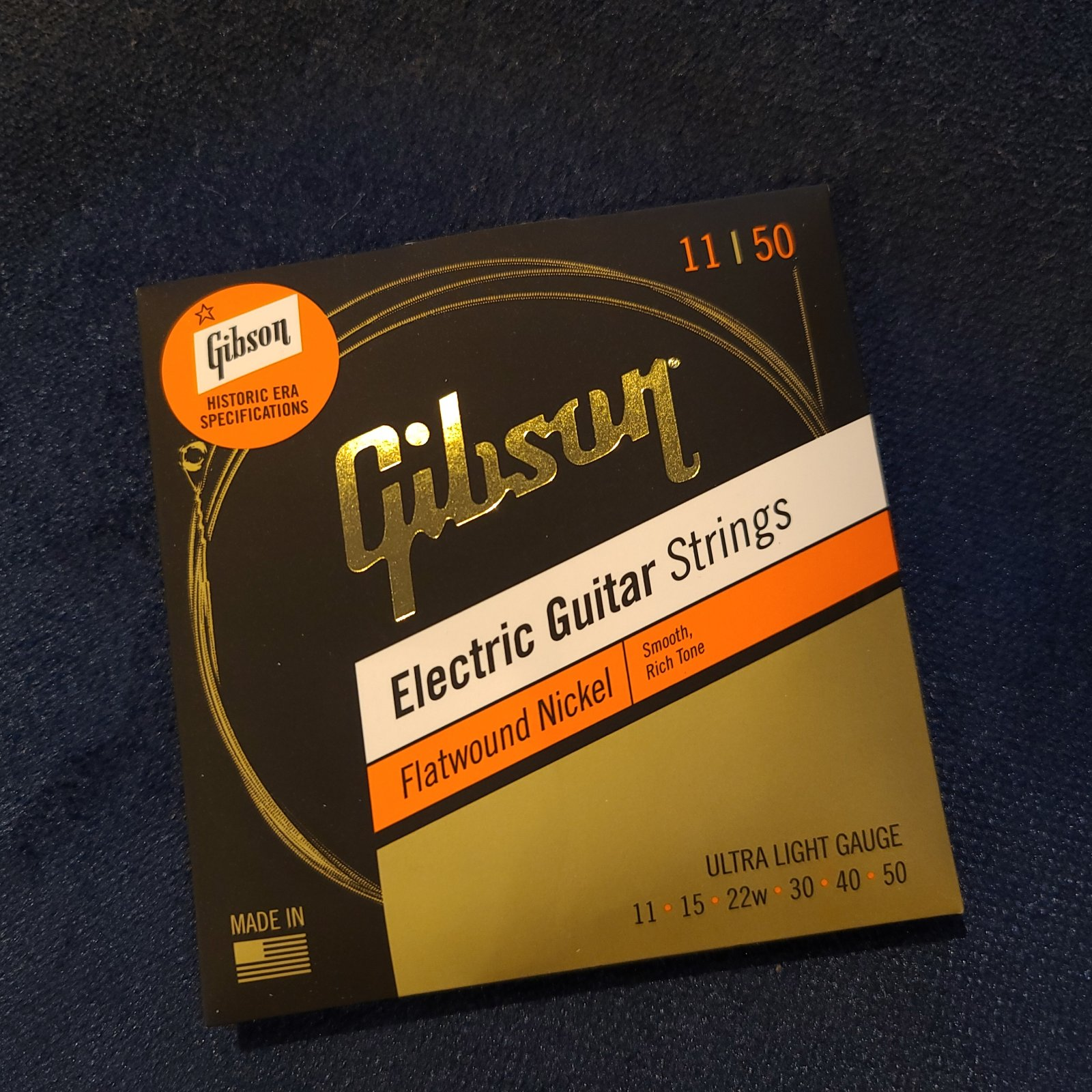 Gibson Flatwound Electric Strings 11-50 historic Era Specifications