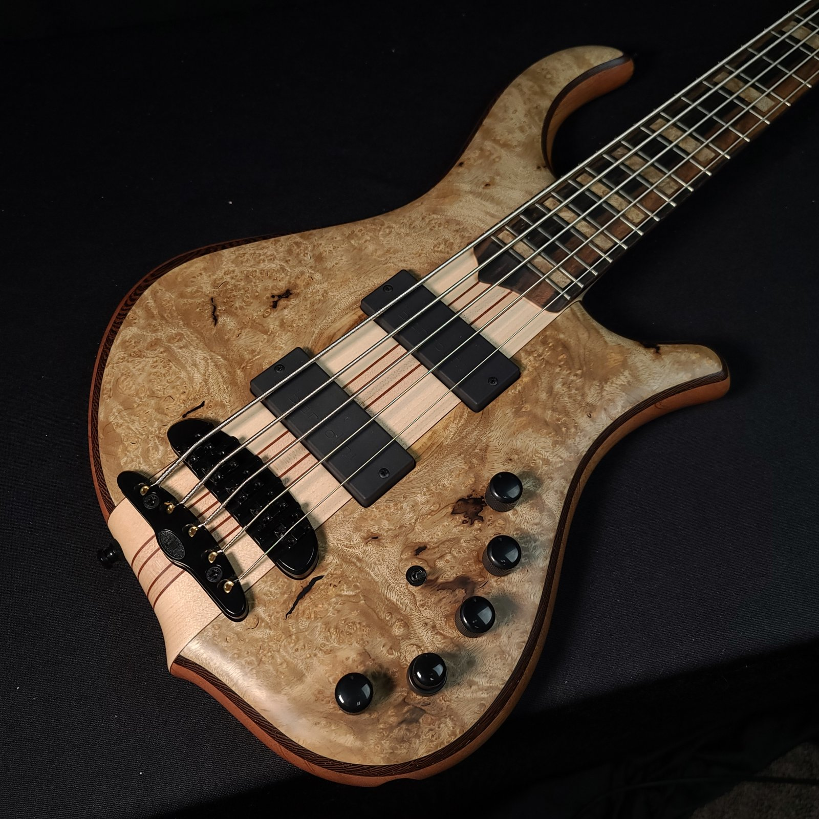 Mayones Master Builder Collection Slogan  5 String Bass Figured Myrtlewood