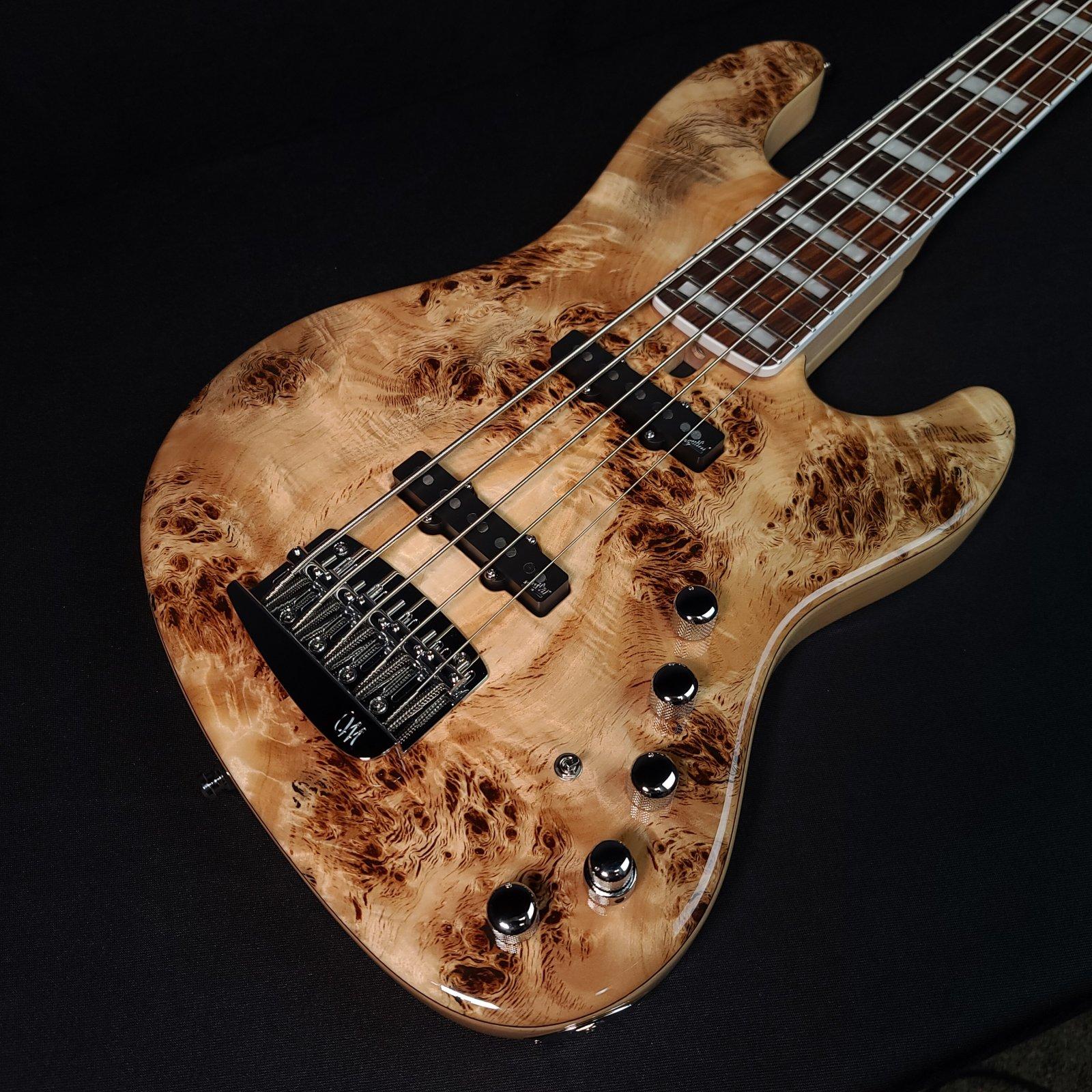Mayones Jabba Custom 5 String Natural Bass AAA Eye Poplar with Case
