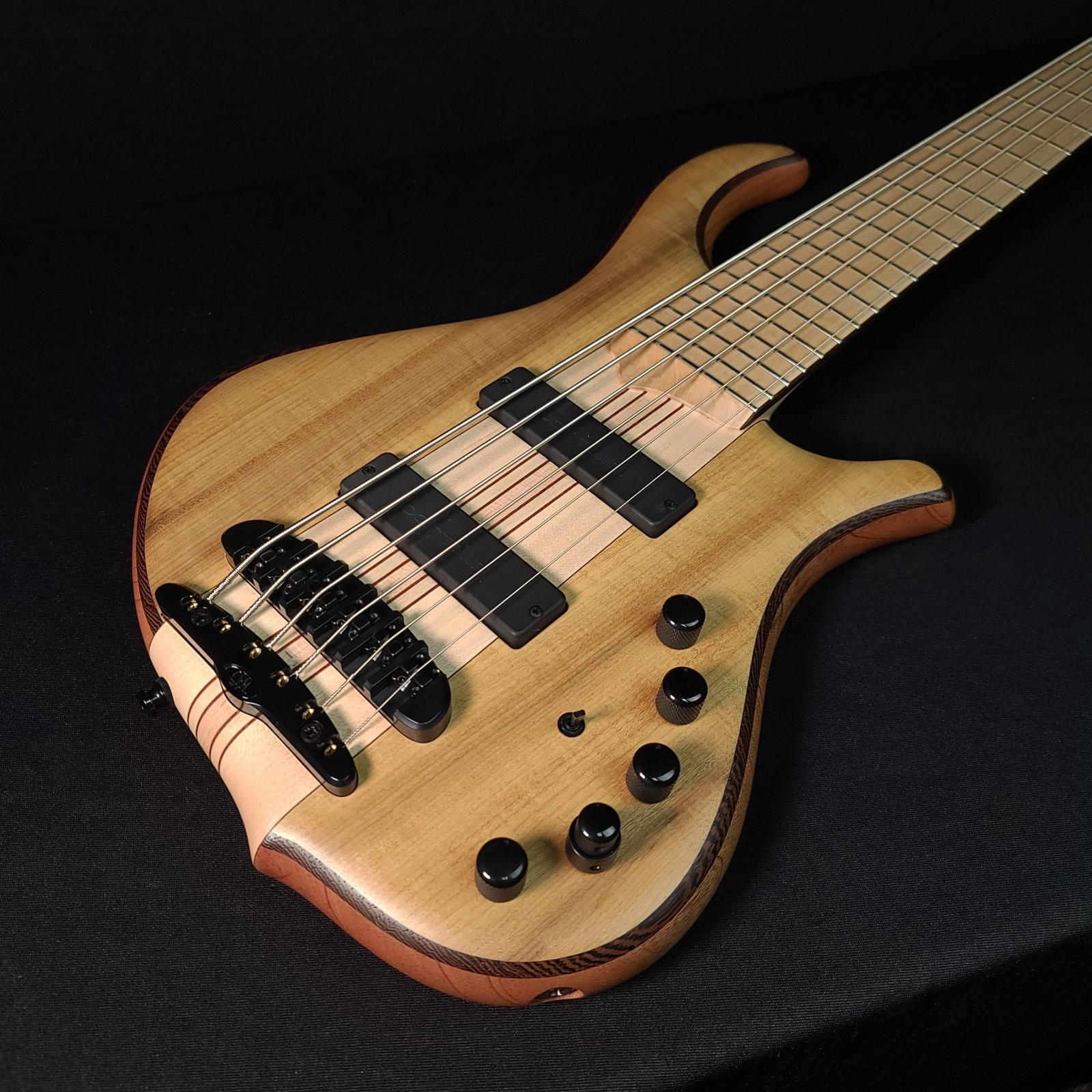 Mayones Slogan 6 String Bass Natural Matte Myrtlewood with Case