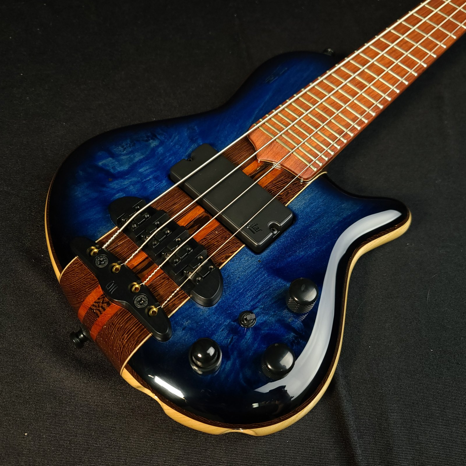 Mayones Cali 4 String Spalted Trans Blue Bass Mini Bass with Headphone Preamp