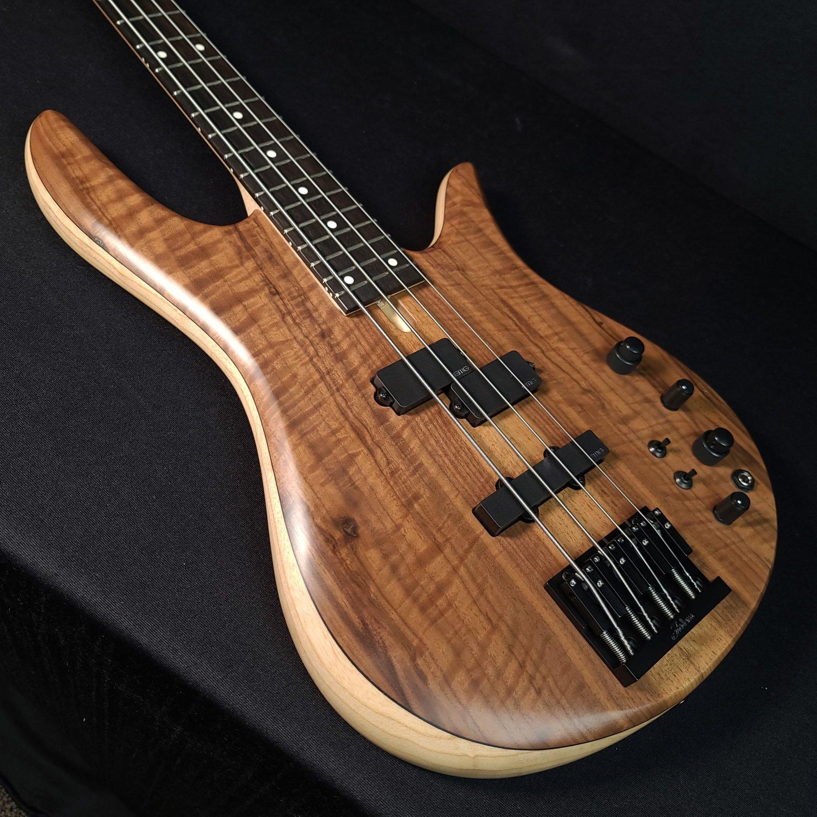 Fodera Monarch 4 Standard Special Figured Walnut, Chambered Ash Body, 4 String Bass
