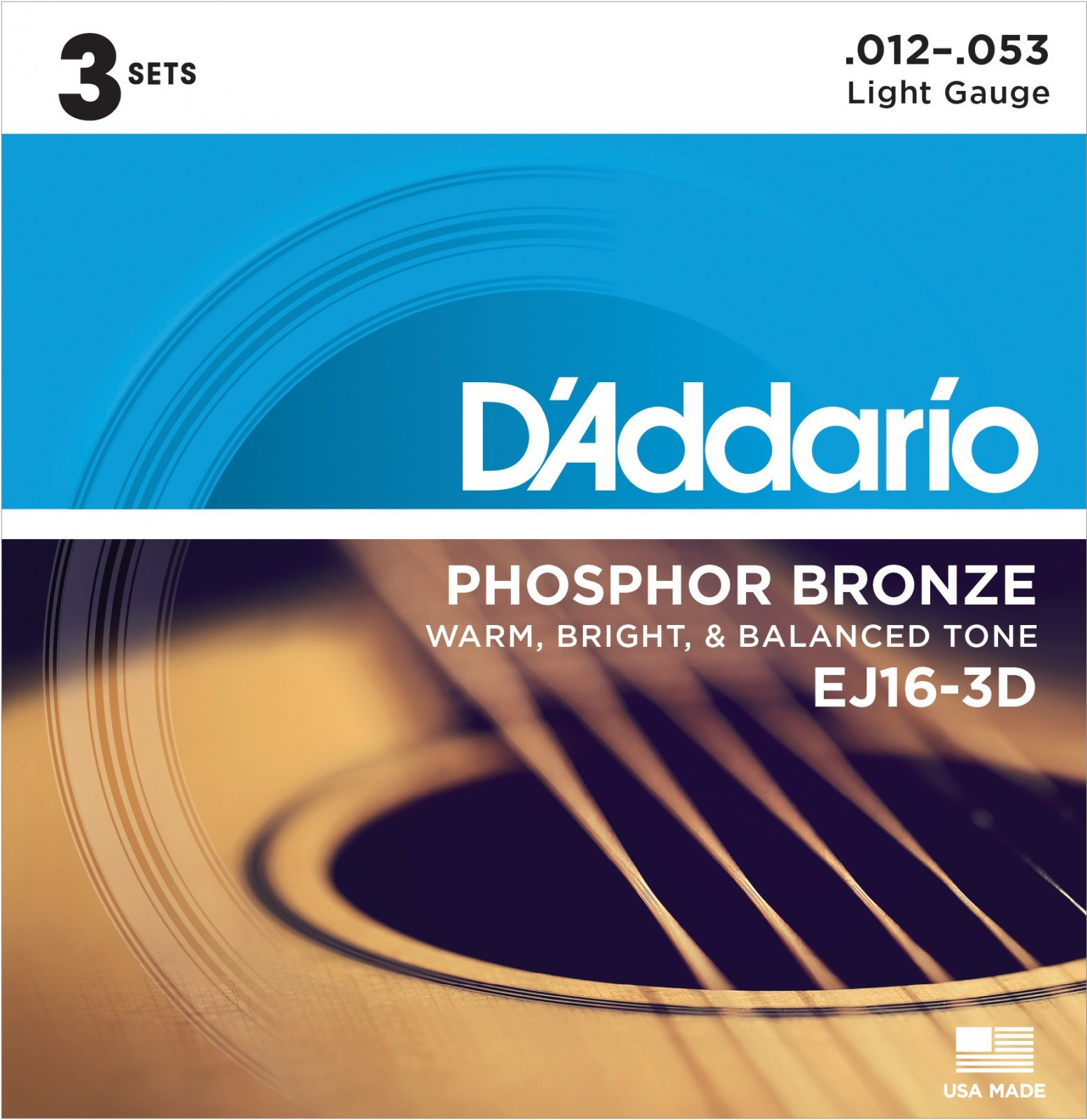 D'Addario EJ163D Phosphor Bronze Acoustic Light Strings three sets