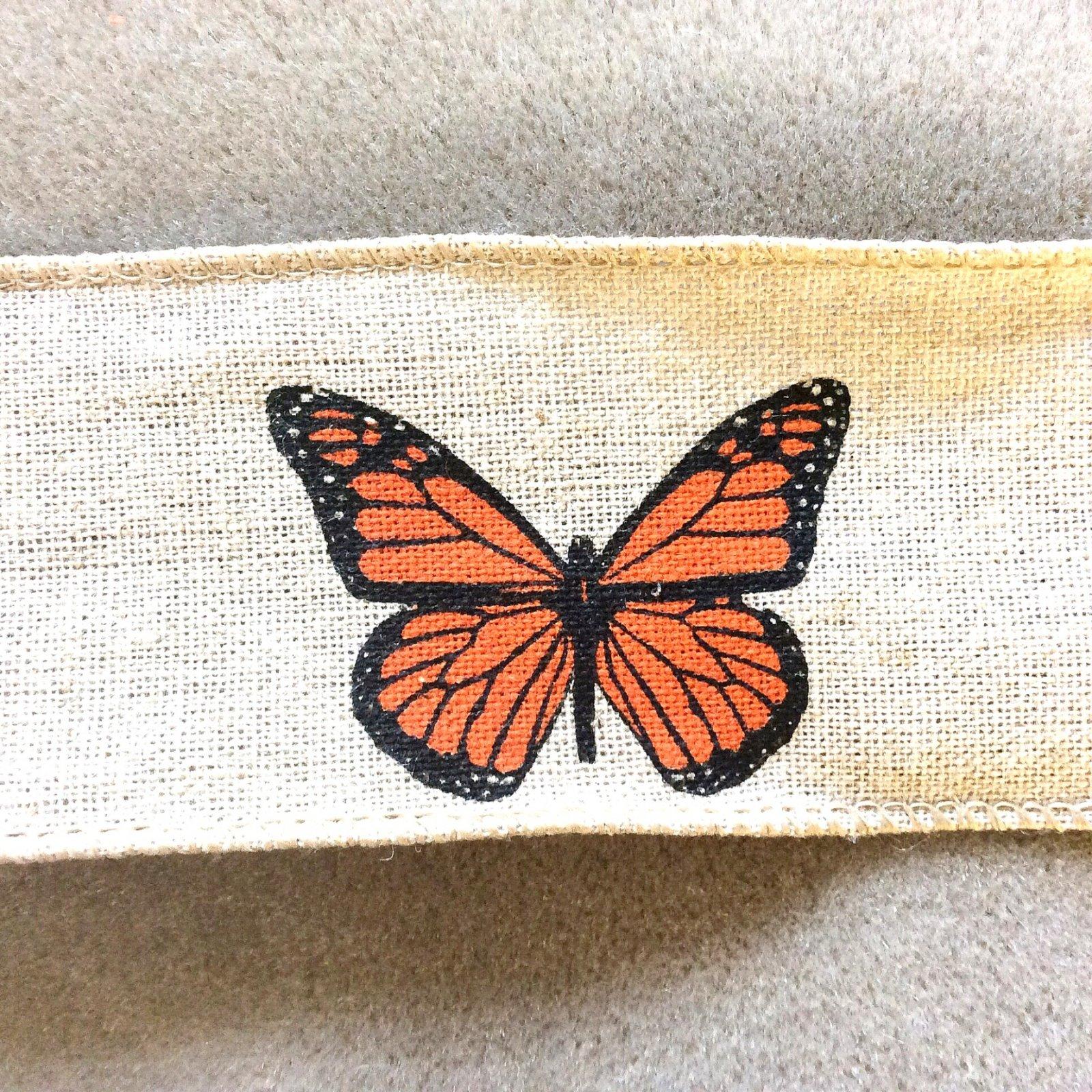 Monarch Butterfly Linen Ribbon Trim 2 wide TRIM007