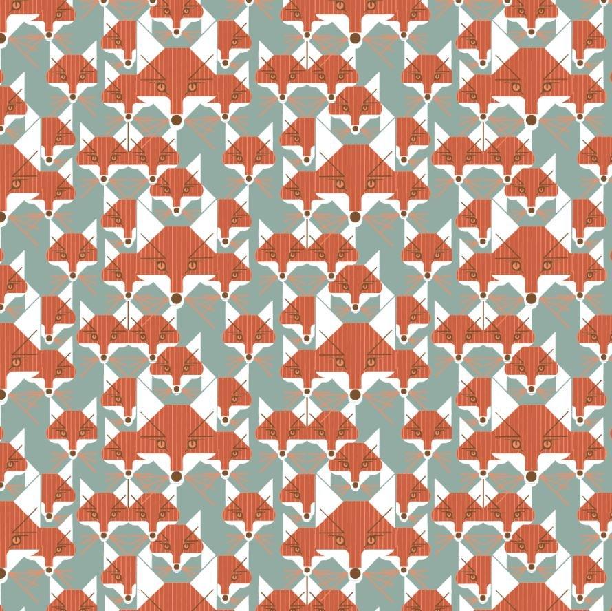 Charley Harper Fox Similies Fox Varmint Organic Quilting Cotton Fabric CHB90