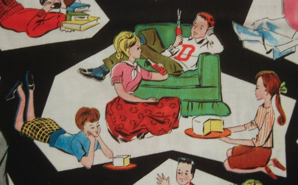 Fat Quarter! Retro Style 50's Teenagers Telephone Party Line Cotton Fabric Quilt Fabric FQWI27