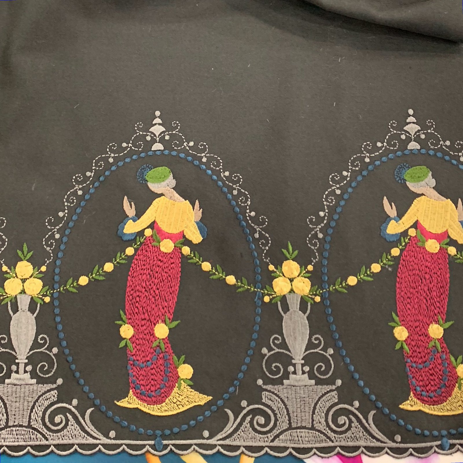 Richard Tyler Schlaepfer Embroidered Wool Border Print Swiss Designer Apparel Sewing Fabric RT4706