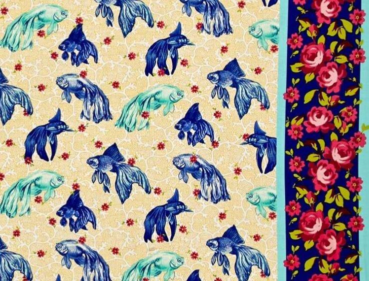 Tokyo Milk Neptune and the Mermaid Age of Aquarius Koi Fish Goldfish Beta Japanese Asian Cotton Quilt Fabric  WE162
