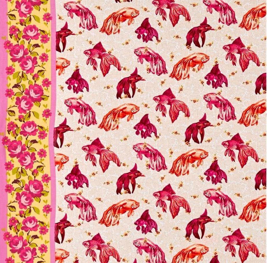 Tokyo Milk Neptune and the Mermaid Age of Aquarius Koi Fish Goldfish Beta Japanese Asian Cotton Quilt Fabric WE163