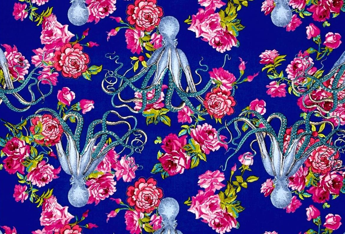 Tokyo Milk Neptune and the Mermaid Neptune's Neverland Octopus Ocean Sea Japanese Asian Cotton Quilt Fabric WE160
