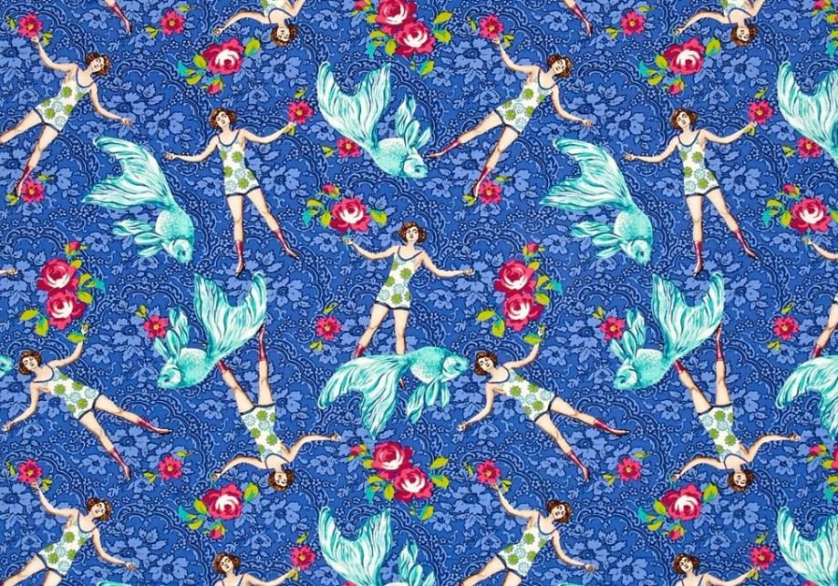 Tokyo Milk Neptune and the Mermaid What Would Poseidon Say? Swimming Lady Fashion Japanese Asian Cotton Quilt Fabric WE167