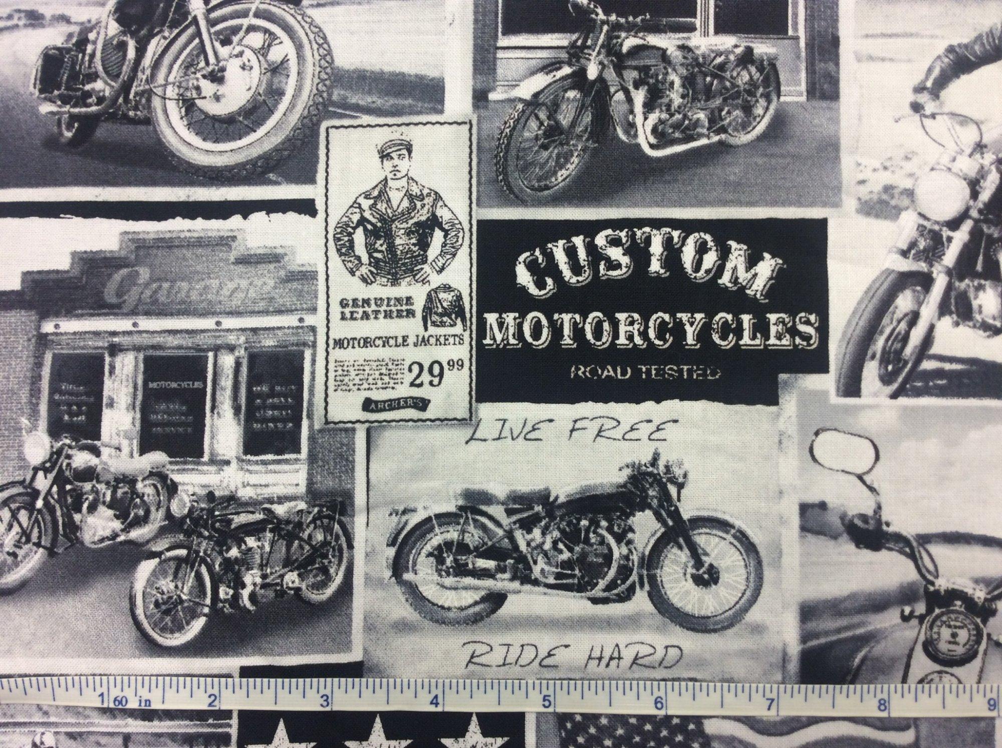Motorcycle Bike Newsprint Advertisement Vintage Travel Quilting Cotton Fabric NT67