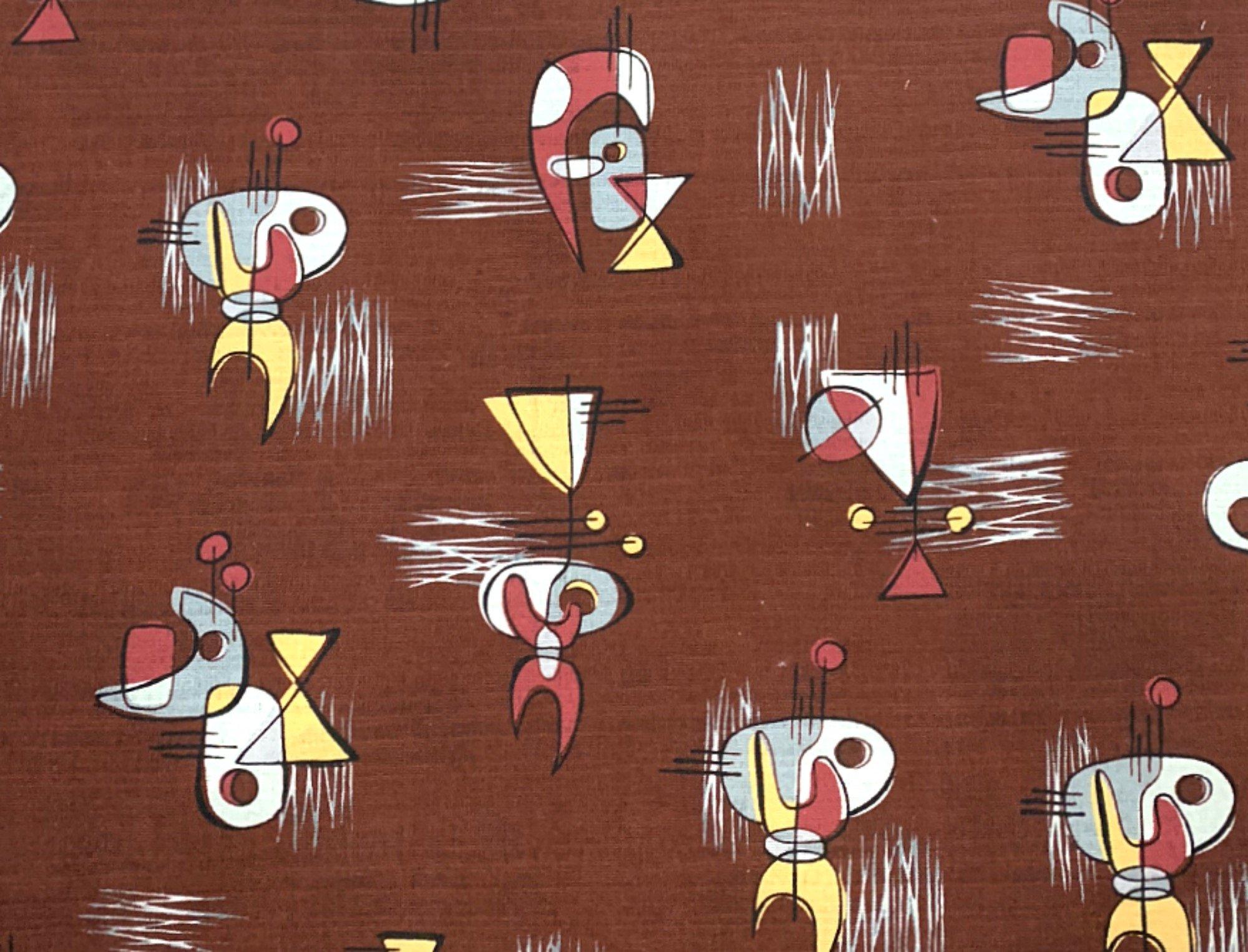 Coming Soon! Atomic Retro Mid Century Modern Boomerang Sputnik Space Age MCM Cotton Fabric Light Weight Canvas