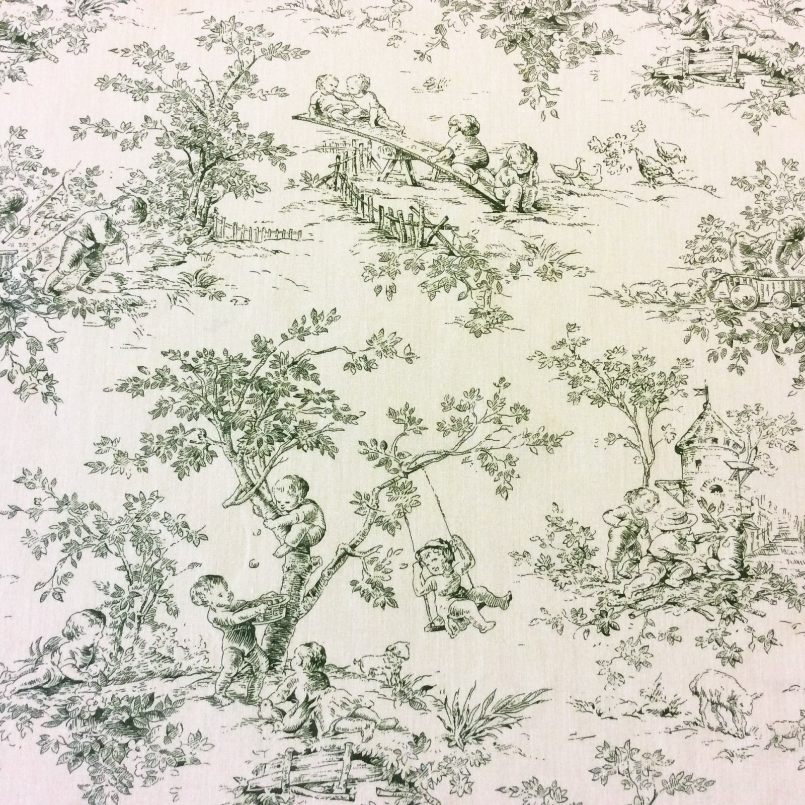 301FG Green Children Toile French England Classic Cotton Home Decor Fabric