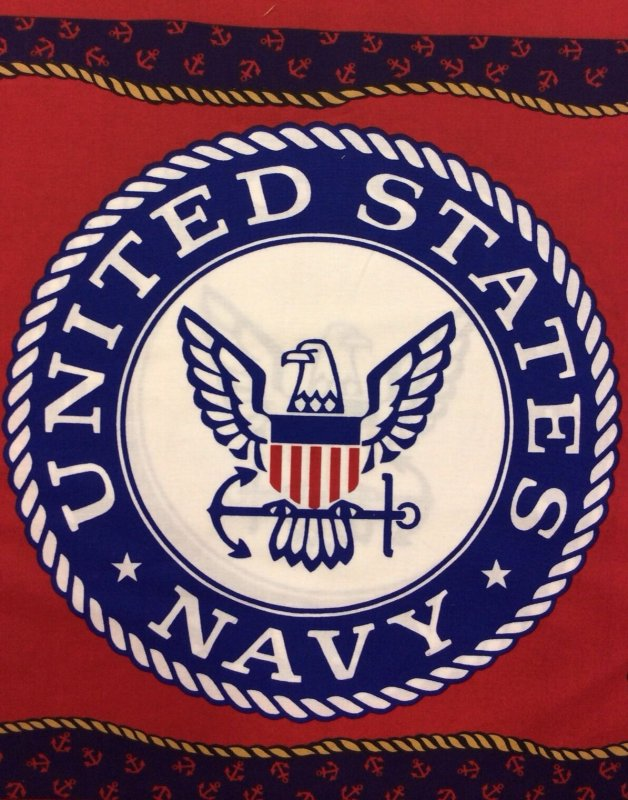 SPR01 USA Navy Armed Forces Panel Sew Quilt Cotton Fabric
