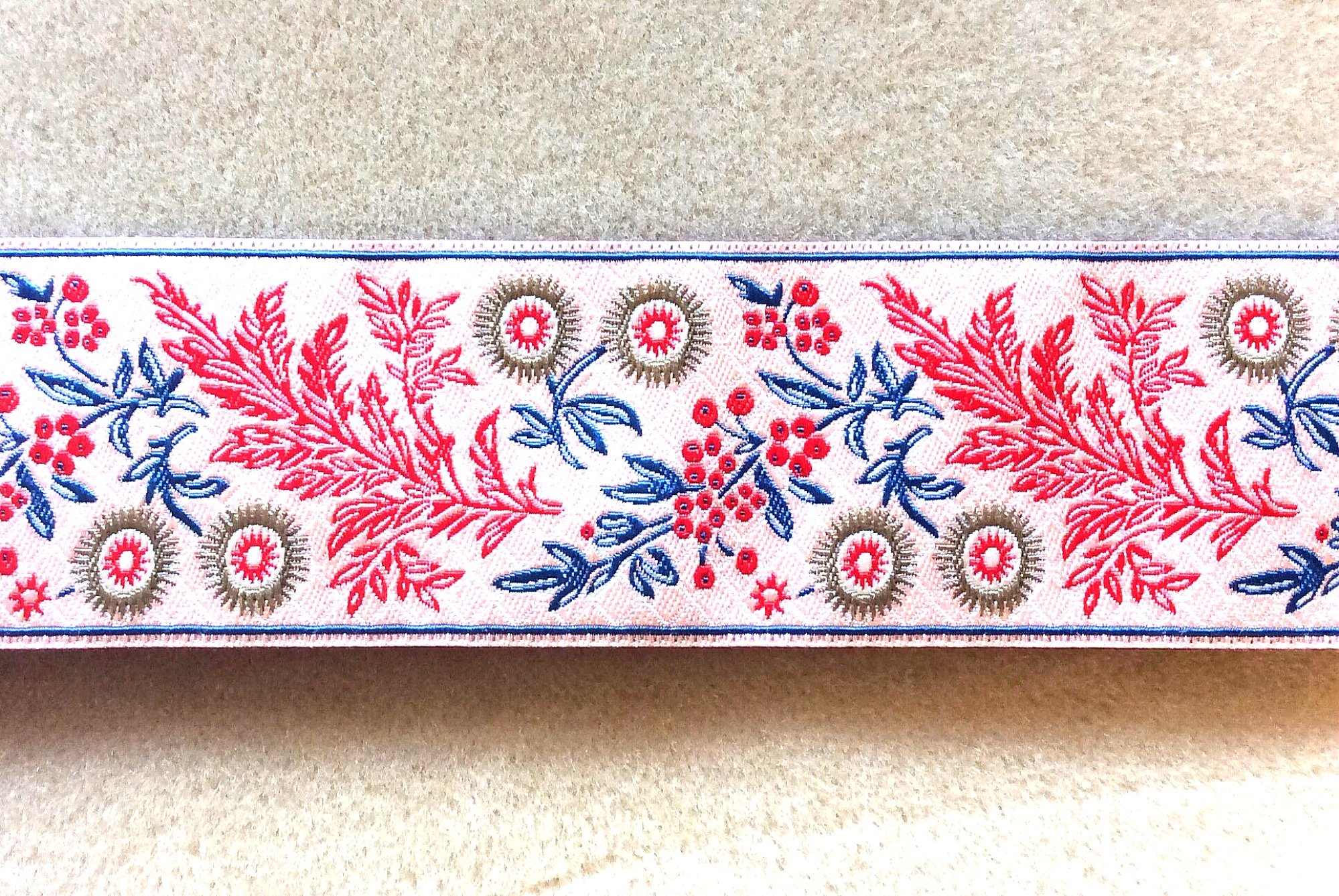 Floral Jacobean Modern Ribbon Trim 1.5 wide Embroidered TRIM010