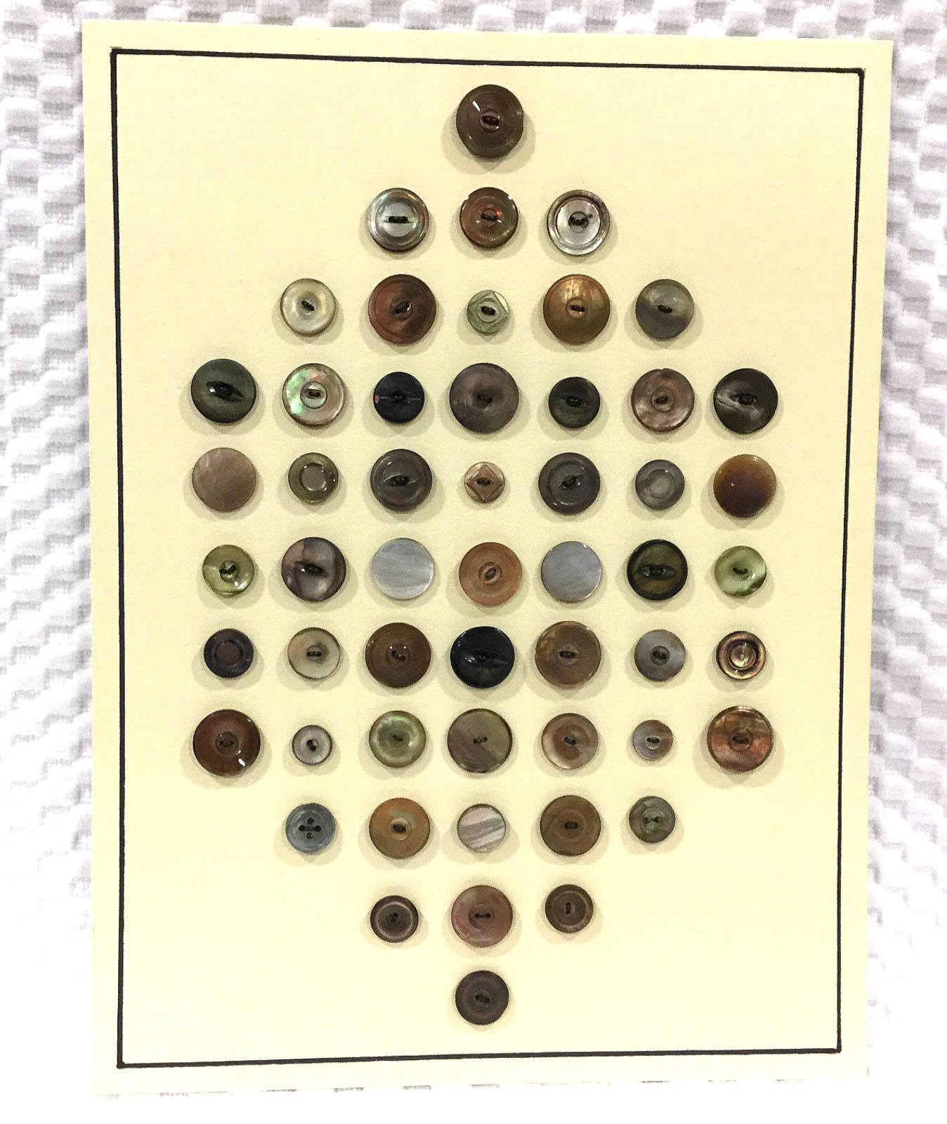 Vintage Display Card of 53 Old Shell Mother Of Pearl Sewing Buttons VBC3