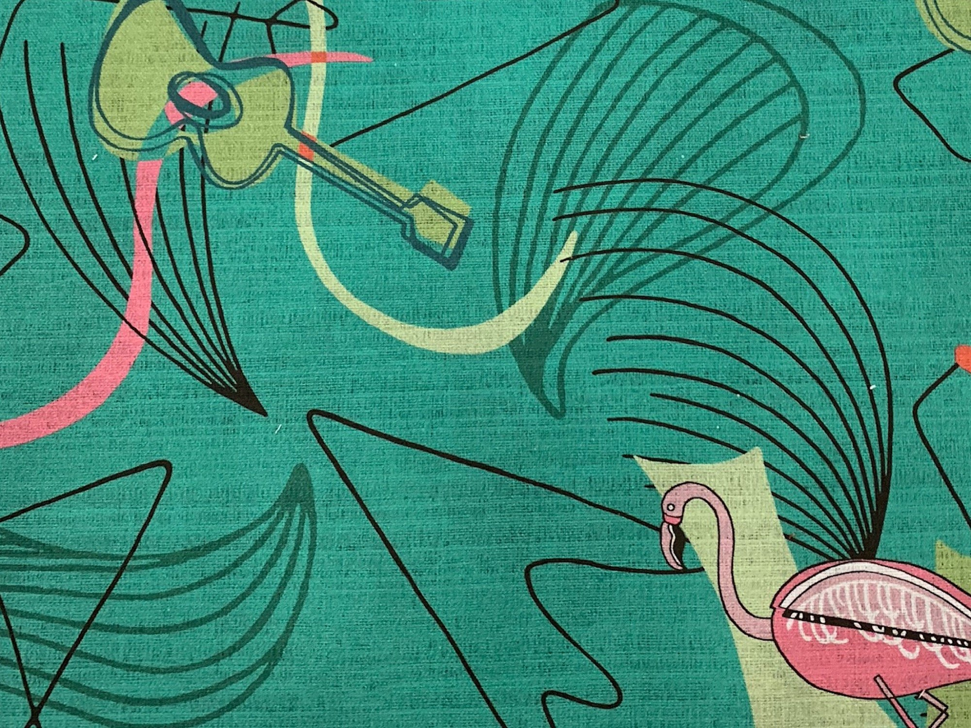 Coming Soon! Atomic Retro Mid Century Modern Flamingo Guitar Boomerang Sputnik Space Age MCM Cotton Fabric Light Weight Canvas