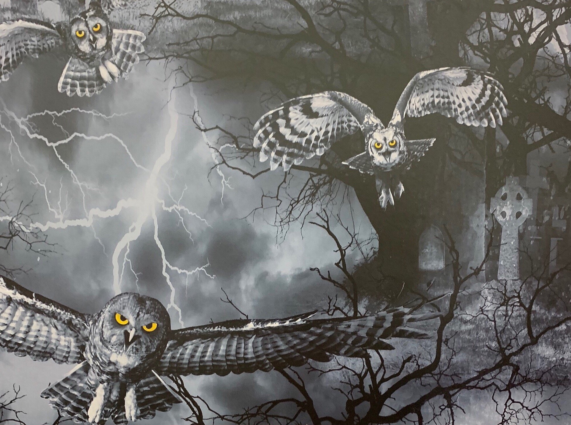 Goth Horror Haunted Night Spooky Owl Gothic Halloween Cotton Quilt Fabric FT183
