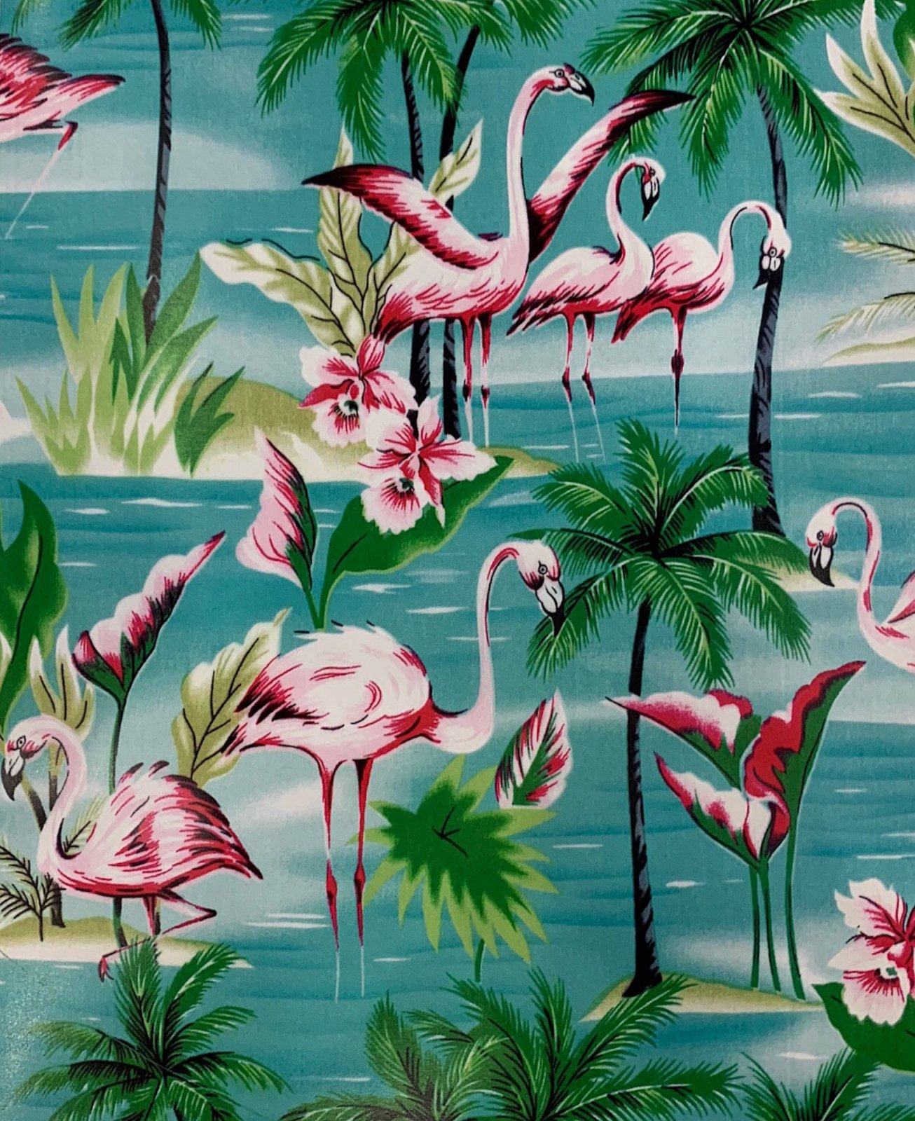 COMING SOON!  Flamingos Water Birds Tropical Water Lily Cotton Quilt Fabric