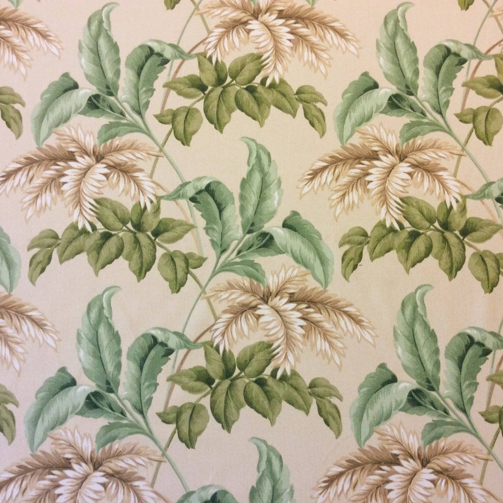 Palm Leaves Classic Tropical Leaf Soft Indoor Outdoor fabric Famous Maker Neutral Tones Green Tan leaves 738 CLOSEOUT