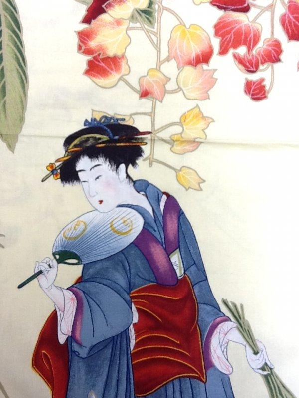 Japanese Geisha Garden Kimono Fan Asia Japan Panel Cotton Fabric Quilting Fabric 740